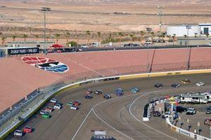 Harrison Burton, Joe Gibbs Racing, Toyota Supra DEX Imaging and Justin Allgaier, JR Motorsports, Chevrolet Camaro BRANDT