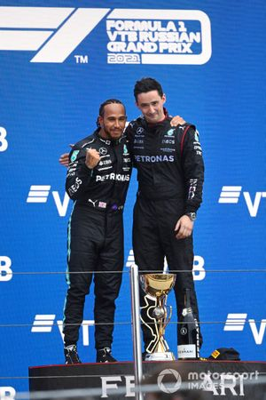 Lewis Hamilton, Mercedes, 1st position, on the podium with his team mate