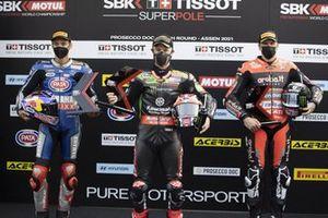 Polesitter Jonathan Rea, Kawasaki Racing Team WorldSBK, secondo posto Toprak Razgatlioglu, PATA Yamaha WorldSBK Team, terzo posto Scott Redding, Aruba.It Racing - Ducati