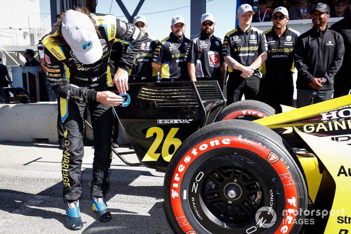 Ganado de la pole position Colton Herta, Andretti Autosport Honda