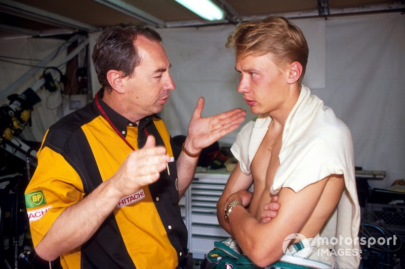 Mika Hakkinen, Lotus with Lotus team manager Peter Collins