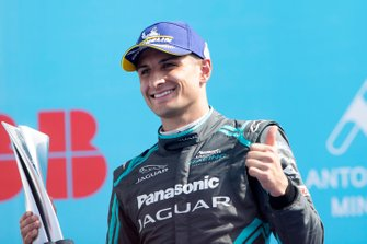 Mitch Evans, Jaguar Racing, 3rd position, celebrates on the podium