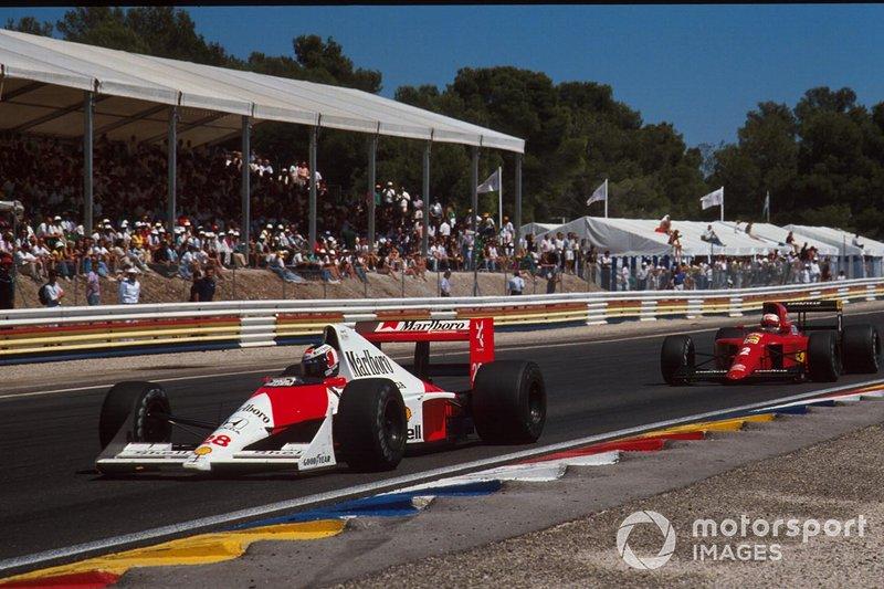 Gerhard Berger, McLaren MP4/5B, Nigel Mansell, Ferrari 641