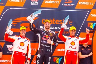Podium: race winner Shane van Gisbergen, Triple Eight Race Engineering, second place Scott McLaughlin, DJR Team Penske, third place Fabian Coulthard, DJR Team Penske
