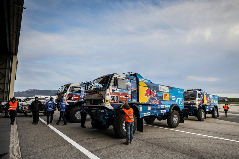 Kamaz Master Trucks during 2020 Dakar Scrutineering at Le Castellet, France