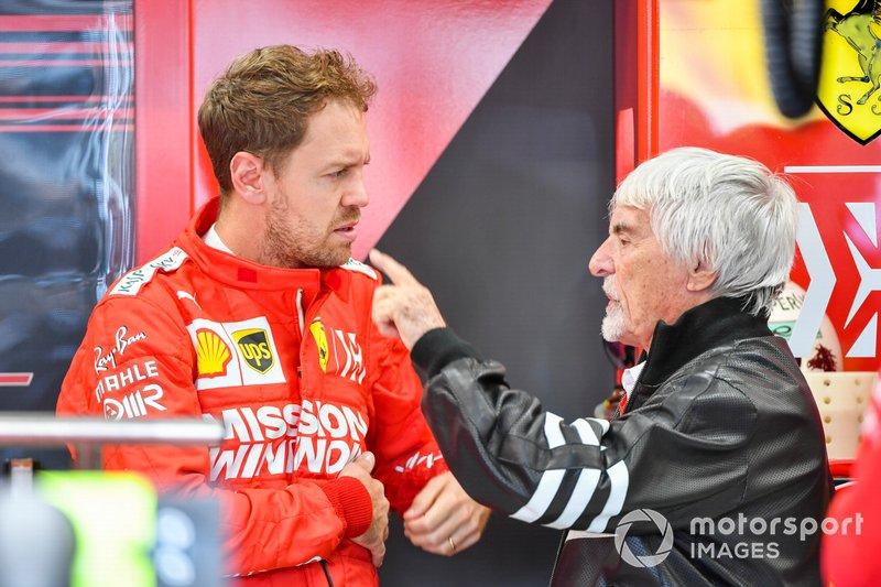 Sebastian Vettel, Ferrari, y Bernie Ecclestone, Presidente Emiritus de Fórmula 1
