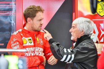 Sebastian Vettel, Ferrari, and Bernie Ecclestone, Chairman Emiritus of Formula 1