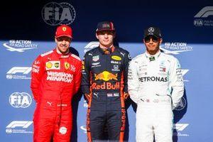 Sebastian Vettel, Ferrari, Pole Sitter Max Verstappen, Red Bull Racing and Lewis Hamilton, Mercedes AMG F1 in Parc Ferme