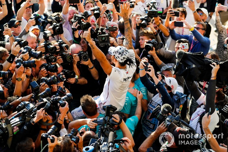 Lewis Hamilton, Mercedes AMG F1, 2nd position, celebrates after securing his sixth world drivers championship title