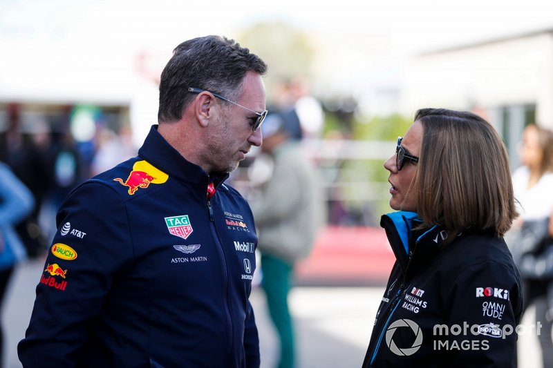 Christian Horner, Team Principal, Red Bull Racing, and Claire Williams, Deputy Team Principal, Williams Racing