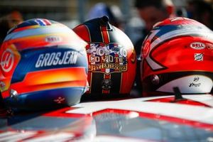 Helmets of Romain Grosjean, Haas F1, Kevin Magnussen, Haas F1, and NASCAR Cup driver Tony Stewart