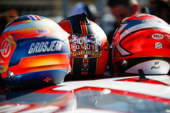 Helmets of Romain Grosjean, Haas F1, Kevin Magnussen, Haas F1, and NASCAR Cup driver Tony Stewart