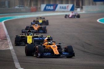 Lando Norris, McLaren MCL34, leads Daniel Ricciardo, Renault F1 Team R.S.19, Carlos Sainz Jr., McLaren MCL34, and Nico Hulkenberg, Renault F1 Team R.S. 19