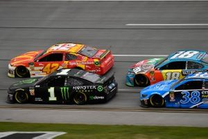 Kurt Busch, Chip Ganassi Racing, Chevrolet Camaro Monster Energy, Kyle Larson, Chip Ganassi Racing, Chevrolet Camaro McDonald's, David Ragan, Front Row Motorsports, Ford Mustang Envision, and Kyle Busch, Joe Gibbs Racing, Toyota Camry M&M's Hazelnut