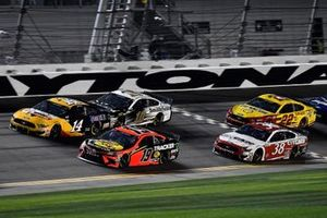 Martin Truex Jr., Joe Gibbs Racing, Toyota Camry Bass Pro Shops, Clint Bowyer, Stewart-Haas Racing, Ford Mustang Rush / Mobil 1, Aric Almirola, Stewart-Haas Racing, Ford Mustang Smithfield, John H. Nemechek, Front Row Motorsports, Ford Mustang Citgard, and Joey Logano, Team Penske, Ford Mustang Shell Pennzoil