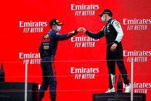 Dennis Hauger, Prema Racing, 2nd position, and Victor Martins, MP Motorsport, 3rd position, on the podium