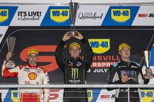 Podium: race winner Cameron Waters, Tickford Ford, second place Anton De Pasquale, Dick Johnson Racing, third place Chaz Mostert, Walkinshaw Andretti United