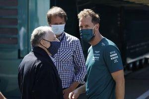 FIA president Jean Todt, Sebastian Vettel, Aston Martin
