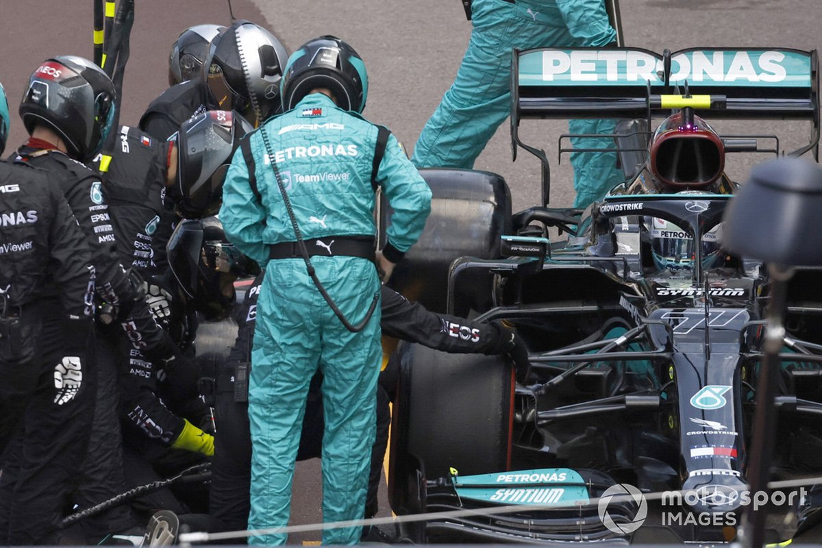 Valtteri Bottas, Mercedes W12, in the pits with technical trouble that would lead to retirement from the race