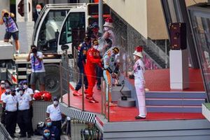 Max Verstappen, Red Bull Racing, 1st position, Adrian Newey, Chief Technical Officer, Red Bull Racing, Lando Norris, McLaren, 3rd position, and Carlos Sainz Jr., Ferrari, 2nd position, celebrate on the podium with Champagne