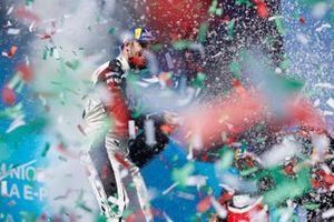 Edoardo Mortara, Venturi Racing, first position, sprays Champagne on the podium