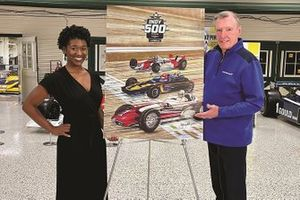 Amiah Mims and Johnny Rutherford releasing the 2021 Indy 500 program cover art