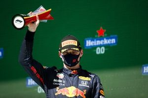 Max Verstappen, Red Bull Racing, 2nd position, with his trophy
