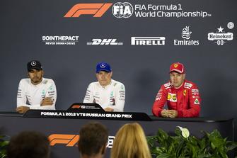 Lewis Hamilton, Mercedes AMG F1, Valtteri Bottas, Mercedes AMG F1 and Sebastian Vettel, Ferrari in press conference