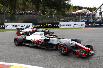 Romain Grosjean, Haas F1 Team VF-18, leads Kevin Magnussen, Haas F1 Team VF-18