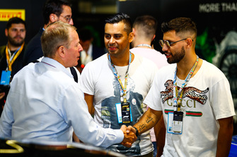 Sergio Aguero, professional footballer, meeting Martin Brundle, Sky F1 presenter