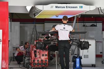 Sauber C37 in the garage