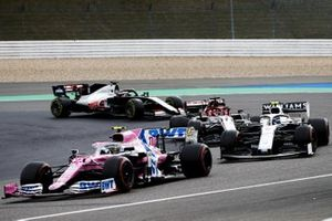Nico Hulkenberg, Racing Point RP20, Nicholas Latifi, Williams FW43, Kimi Raikkonen, Alfa Romeo Racing C39, and Romain Grosjean, Haas VF-20