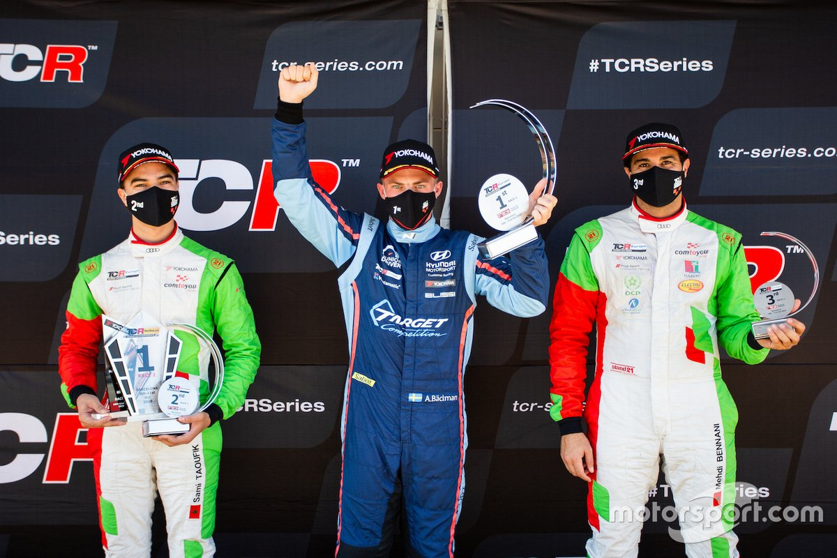 Podio: 2° posto, Sami Taoufik, Comtoyou Racing, Audi RS 3 LMS TCR, 1° posto, Andreas Backman, Target Competition, Hyundai i30 N TCR, 3° posto, Mehdi Bennani, Comtoyou Racing, Audi RS 3 LMS TCR