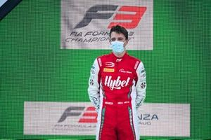 Race Winner Frederik Vesti, Prema Racing celebrates on the podium