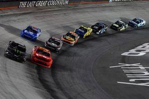 Riley Herbst, Joe Gibbs Racing, Toyota Supra Monster Energy, Justin Allgaier, JR Motorsports, Chevrolet Camaro BRANDT