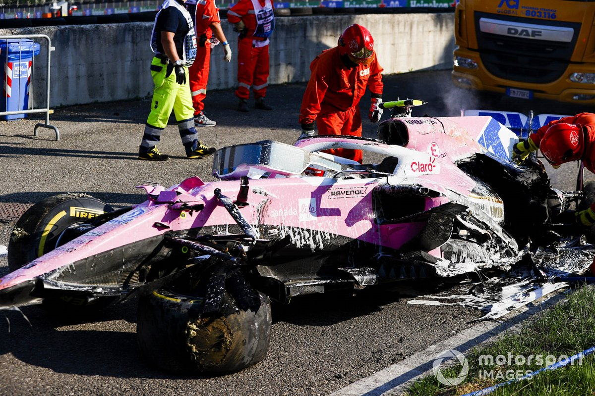 El coche de Lance Stroll, Racing Point RP20 después del accidente