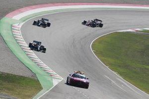 The Safety Car Valtteri Bottas, Mercedes F1 W11, Lewis Hamilton, Mercedes F1 W11, and Charles Leclerc, Ferrari SF1000