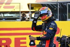 Alex Albon, Red Bull Racing, 3rd position, celebrates in Parc Ferme