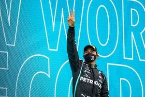 Lewis Hamilton, Mercedes-AMG F1, 1st position, celebrates on the podium