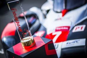 Hyperpole trophy next to #7 Toyota Gazoo Racing Toyota TS050
