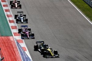 Daniel Ricciardo, Renault F1 Team R.S.20, Sergio Perez, Racing Point RP20, Pierre Gasly, AlphaTauri AT01, and Charles Leclerc, Ferrari SF1000