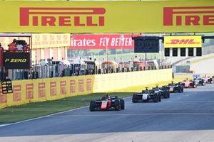 Felipe Drugovich, MP Motorsport, leads Louis Deletraz, Charouz Racing System, Christian Lundgaard, ART Grand Prix, Yuki Tsunoda, Carlin, and Mick Schumacher, Prema Racing