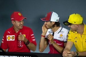 Sebastian Vettel, Ferrari, Alexander Albon, Red Bull Racing and Nico Hulkenberg, Renault F1 Team in the Press Conference
