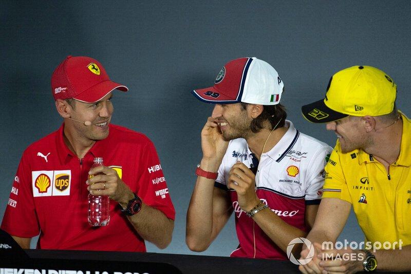 Sebastian Vettel, Ferrari, Alexander Albon, Red Bull Racing and Nico Hulkenberg, Renault F1 Team in the Press Conference