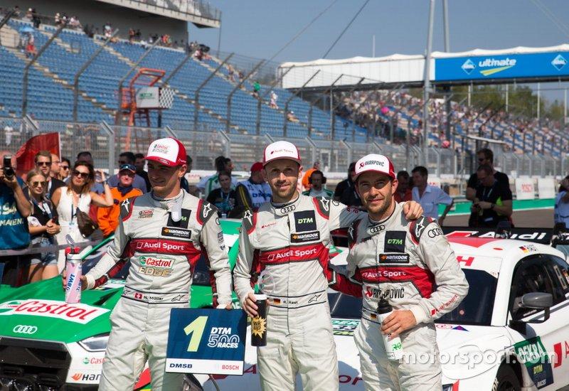 Yarış galibi René Rast, Audi Sport Team Rosberg, Nico Müller, Audi Sport Team Abt Sportsline, Mike Rockenfeller, Audi Sport Team Phoenix