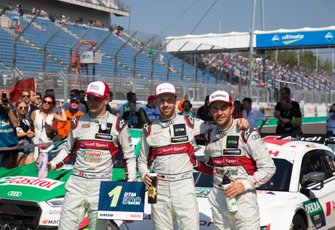 Top 3 après la course, le vainqueur René Rast, Audi Sport Team Rosberg, Nico Müller, Audi Sport Team Abt Sportsline, Mike Rockenfeller, Audi Sport Team Phoenix