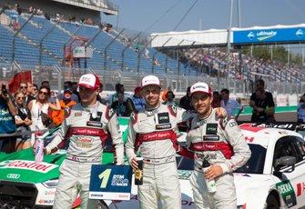 Top 3 gara: il vincitore René Rast, Audi Sport Team Rosberg, Nico Müller, Audi Sport Team Abt Sportsline, Mike Rockenfeller, Audi Sport Team Phoenix