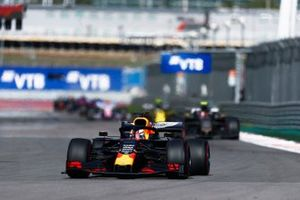 Max Verstappen, Red Bull Racing RB15, leads Kevin Magnussen, Haas F1 Team VF-19