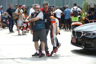 Marc Marquez, Repsol Honda Team, crashed leathers