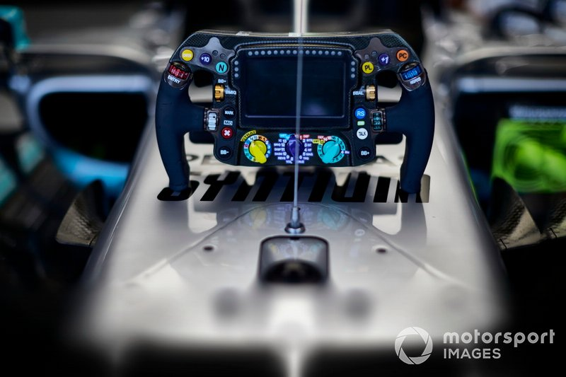 The steering wheel of the Mercedes AMG F1 W10